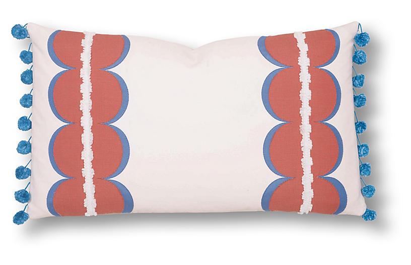 Ellison 13x22 Outdoor Lumbar Pillow, White/Coral