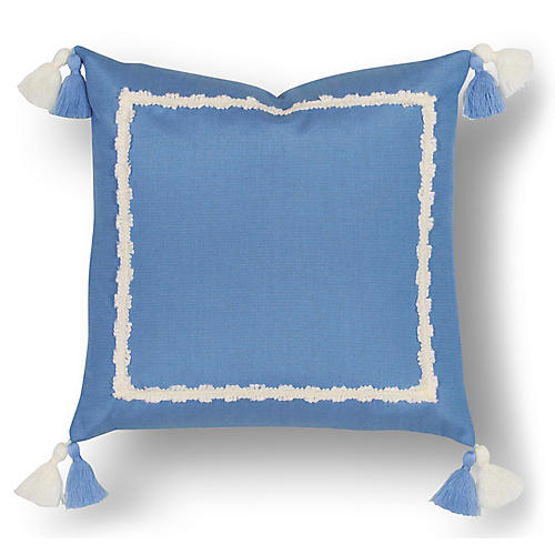 Liz 18x18 Outdoor Pillow, Blue/White