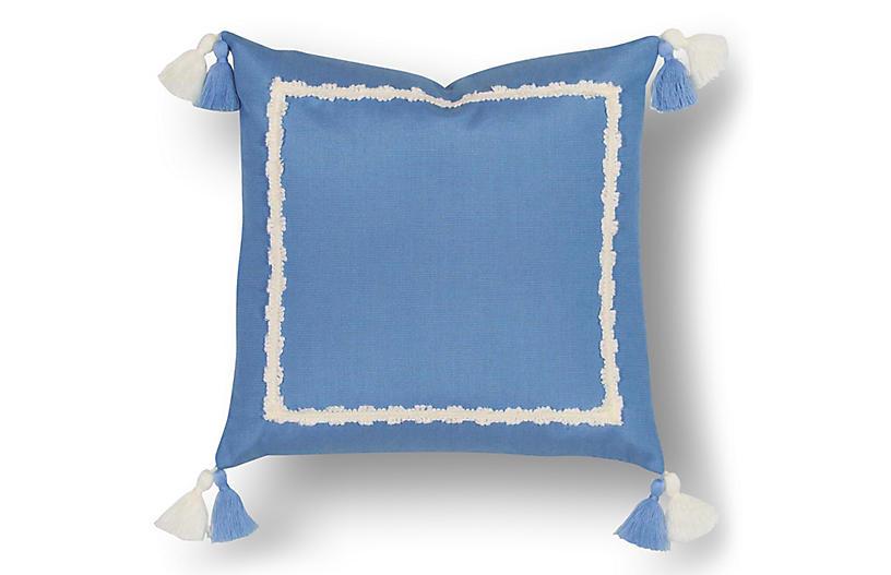 Liz 18x18 Outdoor Pillow, Blue/White