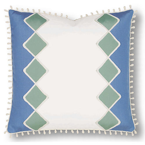 Milly 20x20 Outdoor Pillow, White/Blue