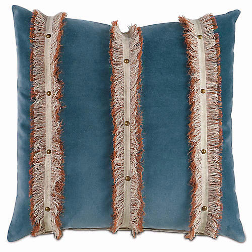 Plush 22x22 Pillow, Teal/Orange