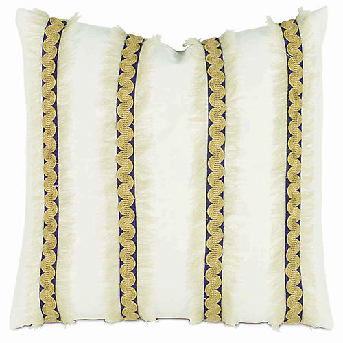 Breeze 20x20 Pillow, Yellow/White Linen