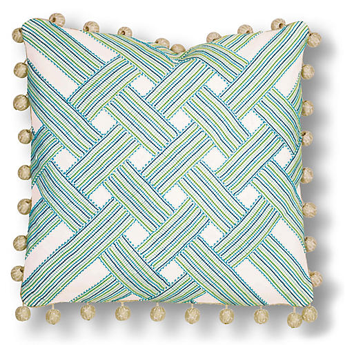 Delilah 20x20 Pillow, Ivory/Blue