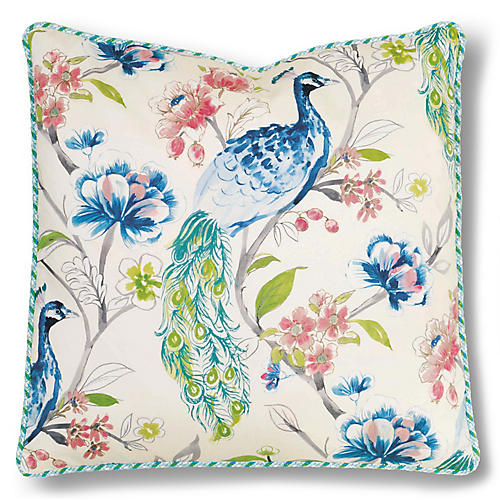 Riley 24x24 Pillow, Ivory/Blue