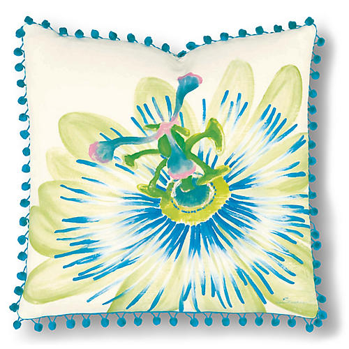 Leah 20x20 Pillow, Ivory/Blue
