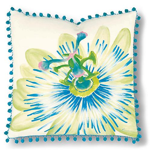 Leah 20x20 Pillow, Ivory/Blue