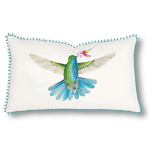 Luna 13x22 Pillow, Ivory/Blue