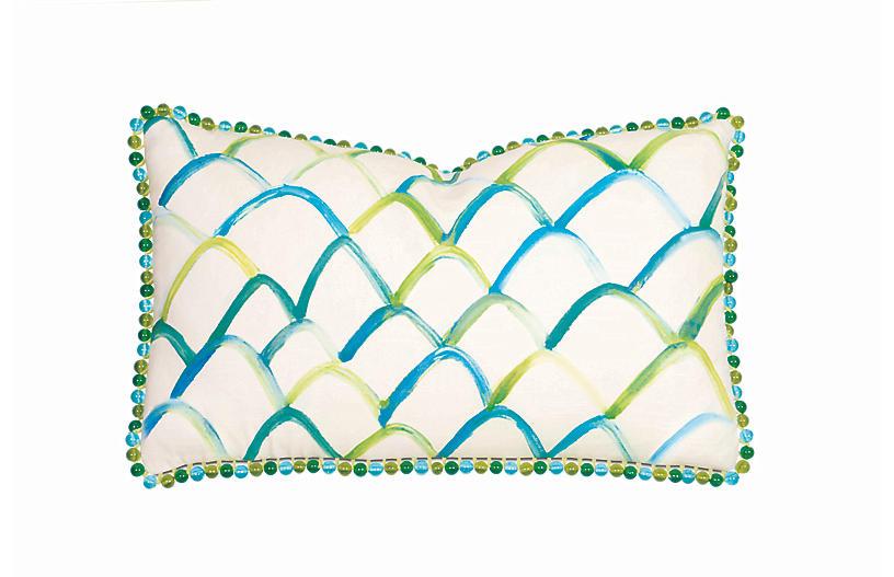 Emery Lumbar Pillow, White/Green