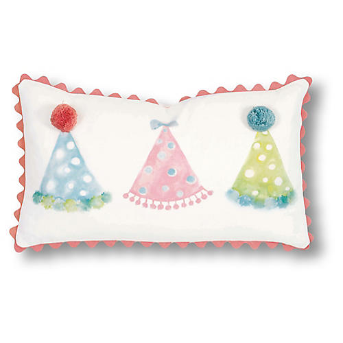 Molly 13x22 Pillow, White/Pink