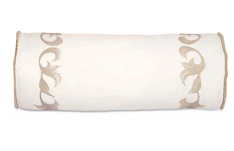 Bramble 9x24 Bolster Pillow, Taupe/Ivory Linen