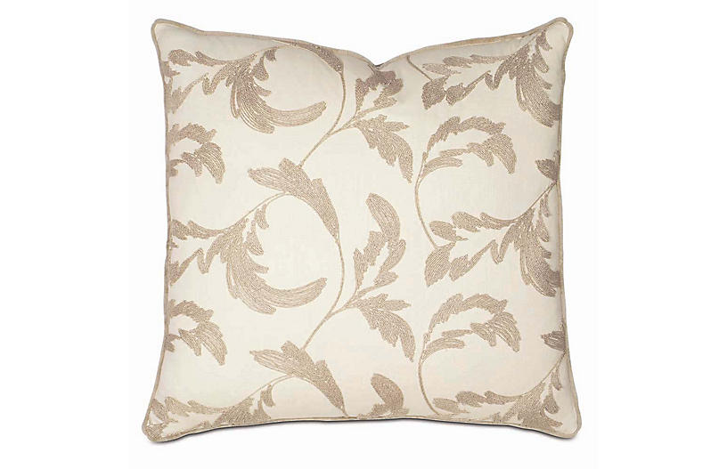 Boyer 27x27 Pillow, Ivory/Taupe