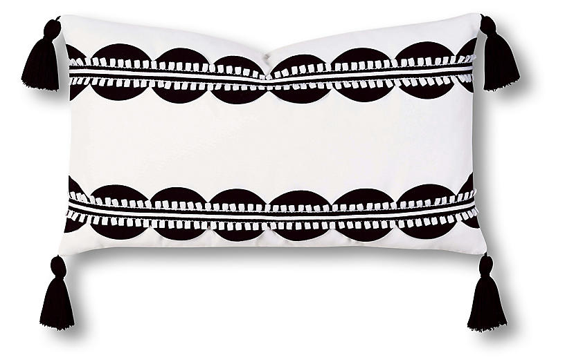 Celerie Kemble Ann 13x22 Outdoor Lumbar Pillow Black White One Kings Lane