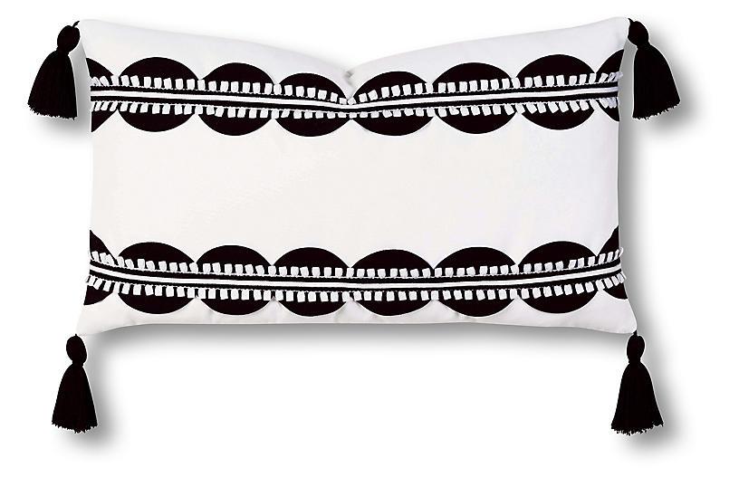 Ann 13x22 Outdoor Lumbar Pillow, Black/White