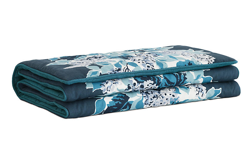 Lacecap Floral Bed Scarf, Blue