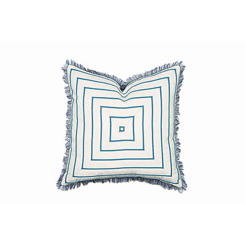 Olivia Pillow, Blue/White