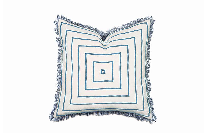 Olivia Pillow, Blue/White