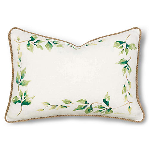 Ragland 12x18 Pillow, Ivory/Green Linen