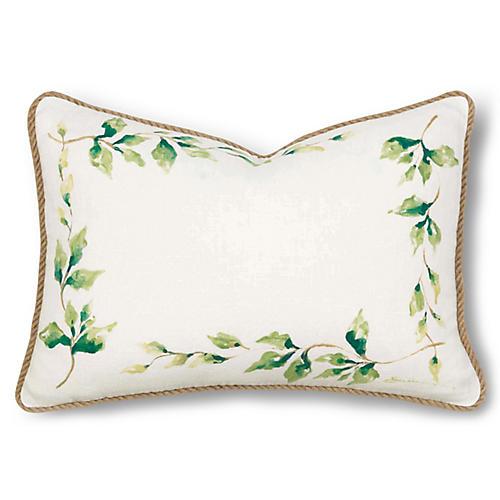 Ragland 12x18 Pillow, Ivory/Green Linen