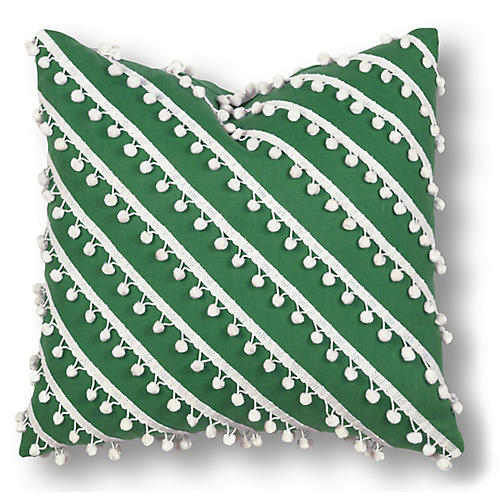 Mills 20x20 Pillow, Green/White Linen