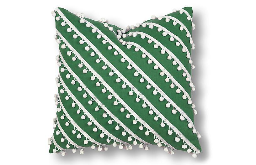 Mills 20x20 Pillow, Green/White Linen