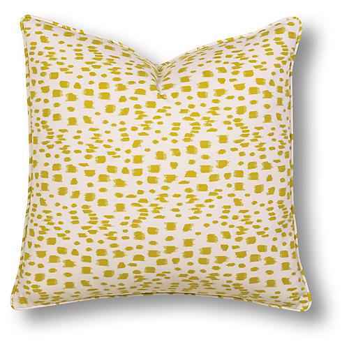 Ella 22x22 Pillow, Yellow/White