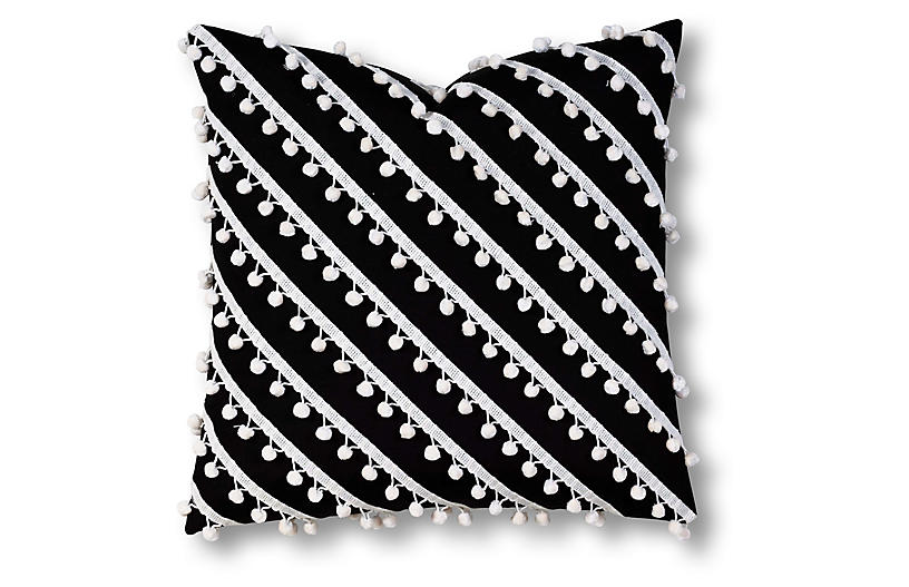 Maddie 20x20 Outdoor Pillow, Black/White