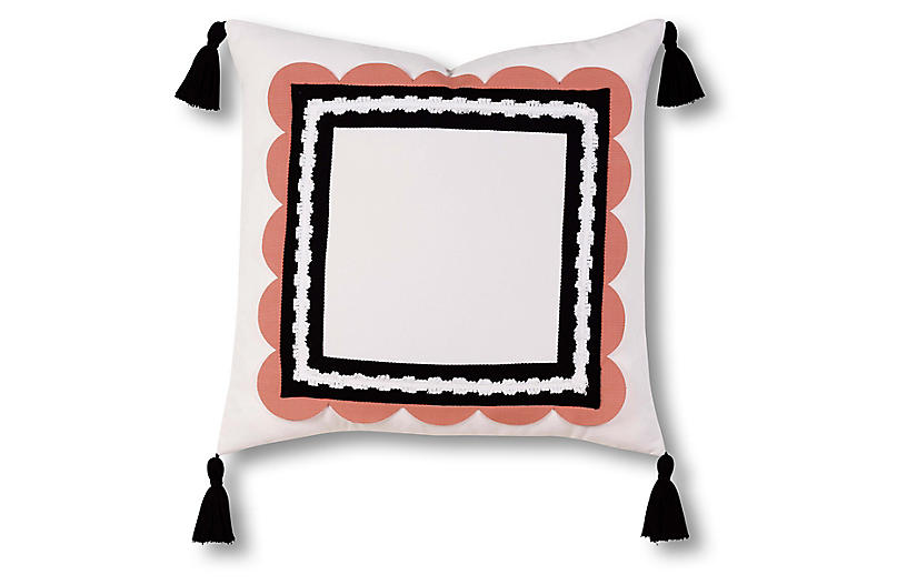 Sophie 20x20 Outdoor Pillow, Black/White