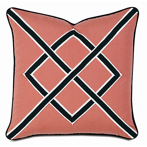 Emma Outdoor Pillow, Coral/Black Sunbrella