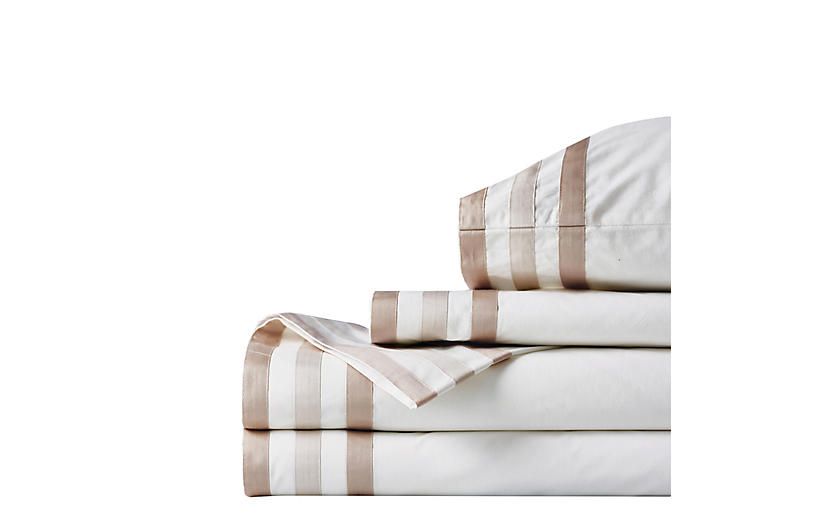 Brentwood Egyptian Cotton Sheet Set, White/Beige