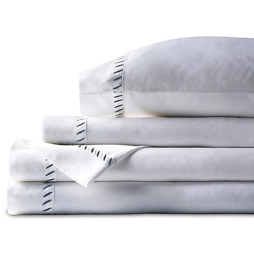 Ona Sheet Set, White/Charcoal