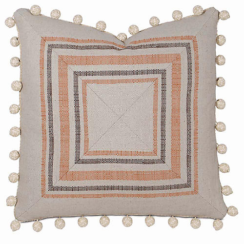 Adaire 22x22 Pillow, Natural/Rust