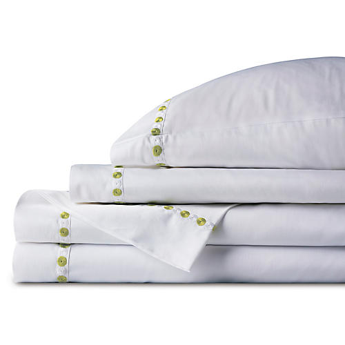 Tivoli Sheet Set, White/Lime