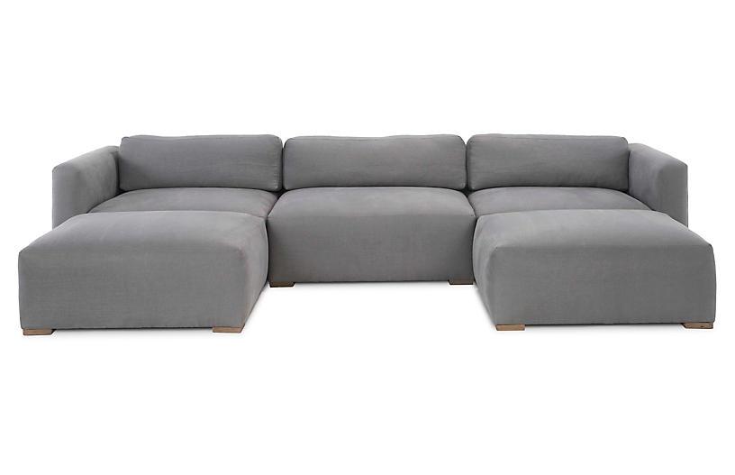 Cooper Sectional, Gray Linen