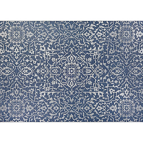 Gerdina Outdoor Rug, Navy/Ivory
