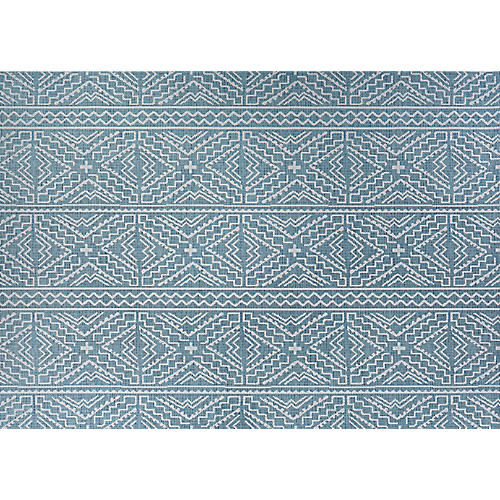 Antoine Outdoor Rug, Turquoise/Ivory