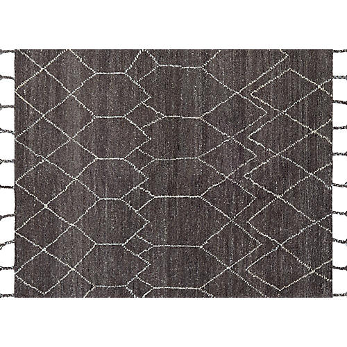 Hadil Hand-Knotted Rug, Dark Brown
