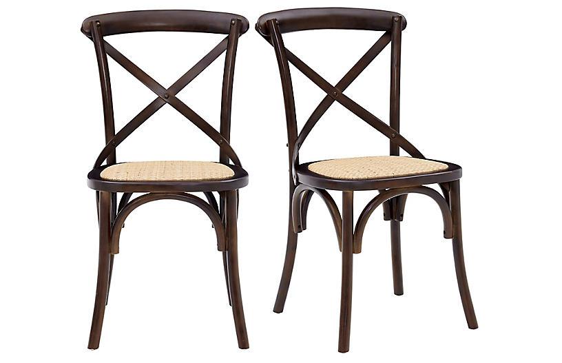 S/2 Alonzo Rattan Side Chairs, Walnut