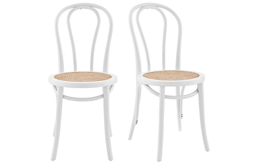 S/2 Nico Side Chairs, Matte White