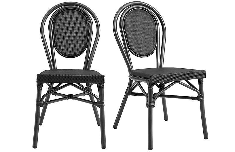 S/2 Joel Outdoor Side Chairs, Black