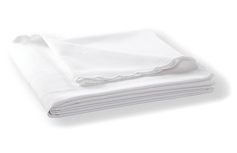 Diamond Pique Coverlet, White