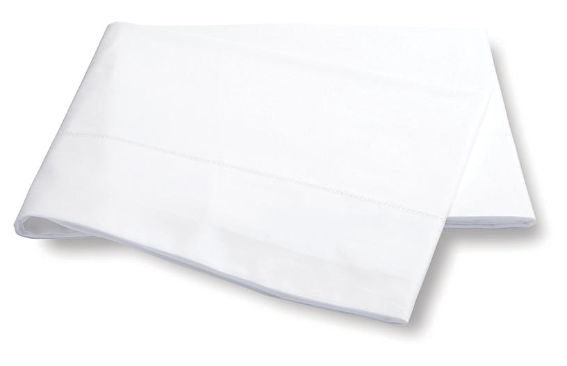 Luca Hemstitch Flat Sheet, White