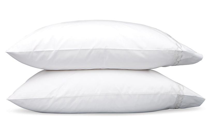 S/2 Classic Chain Pillowcases, Silver