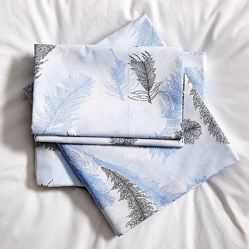 Plumes Sheet Set, Azure/White