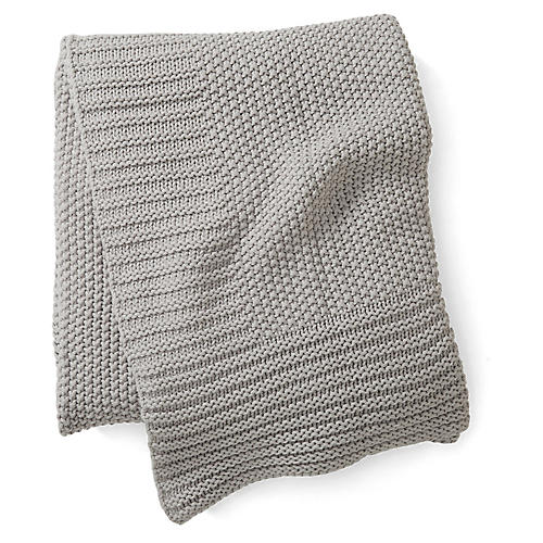 Esme Cotton Throw, Silver