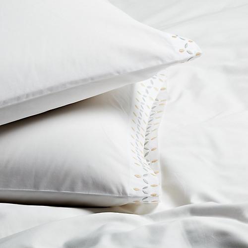 S/2 Petala Standard Pillowcases, Silver/Champagne