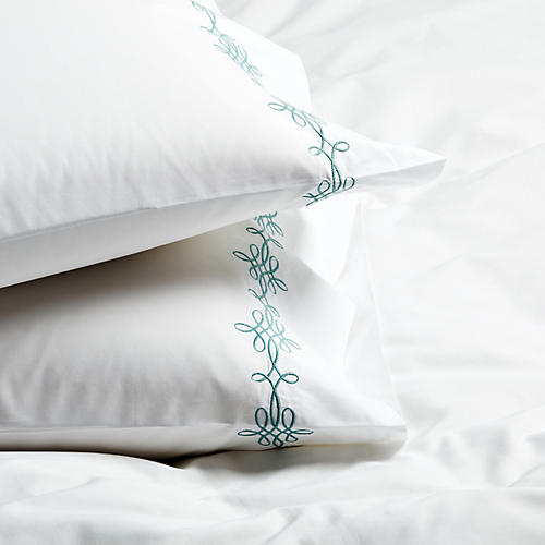 S/2 Bernini Standard Pillowcases, Jade