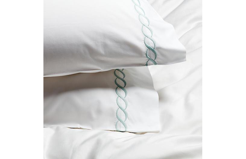 S/2 Classic Chain Pillowcases, Opal
