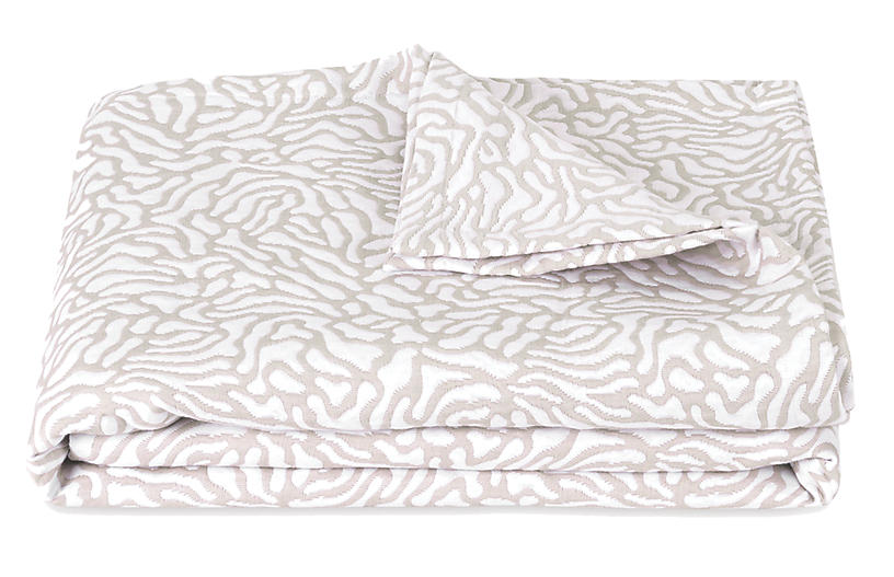 Cora Coverlet, Natural/White