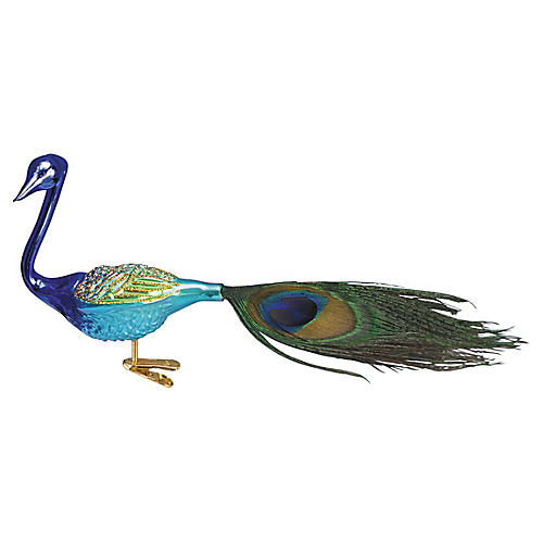Magnificent Peacock Ornament, Blue/Multi