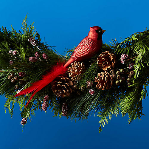 Cardinal Feather-Tail Clip-On Ornament, Red